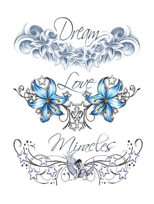 Tatouage éphémère - Plaque de 3 tattoos
