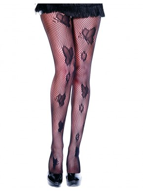 Collant sexy résille noir avec papillons