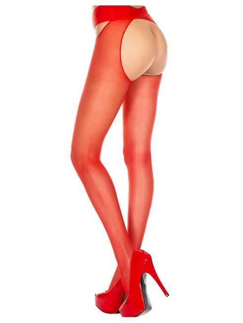 Fournisseur lingerie Collant nylon rouge ouvert