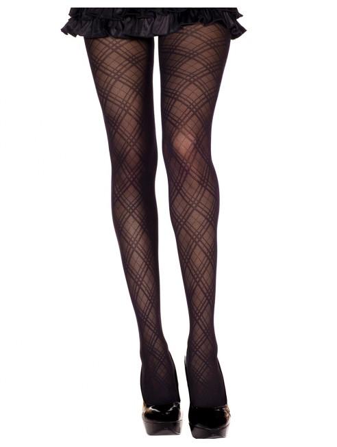 Fournisseur lingerie sexy Collant nylon noir fantaisie avec croisement de lignes
