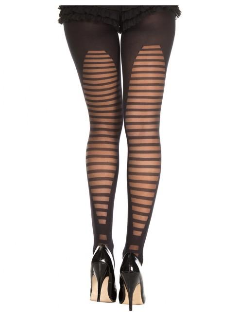 Grossiste lingerie Collant semi opaque noir avec arrière fantaisie de lignes horizontales