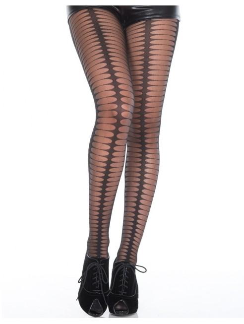 Fournisseur lingerie Collant fantaisie noir semi-opaque avec formes ovales