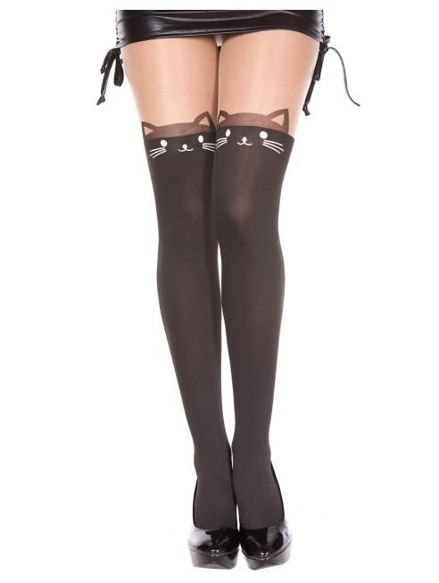 Grossiste lingerie Collant semi opaque avec tête de chat fantaisie avec sa queue à l'arrière