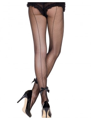 Fournisseur lingerie Collant sexy resille noir avec couture et noeuds satinés