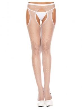 Collant blanc résille échancré entre-jambes et hanches - MH904WHT