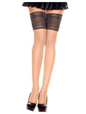 Collant chair sexy effet bas jarretières noires et coutures - MH7355BBL