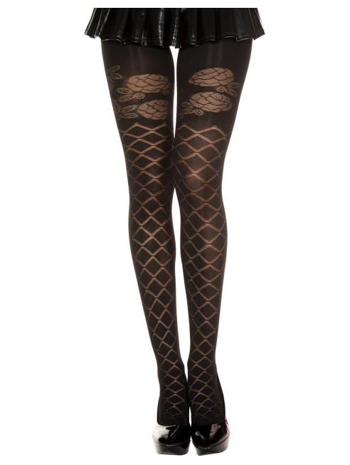 Grossiste lingerie sexy Collant semi opaque noir effet croisillons et fleurs