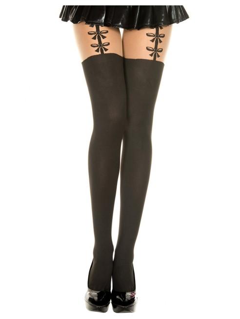 grossiste lingerie sexy dropshipping Collant semi opaque avec imprimé porte jarretelles