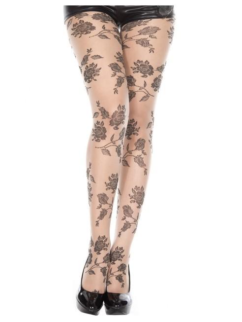 Grossiste lingerie sexy Collant chair fantaisie et fleurs noires