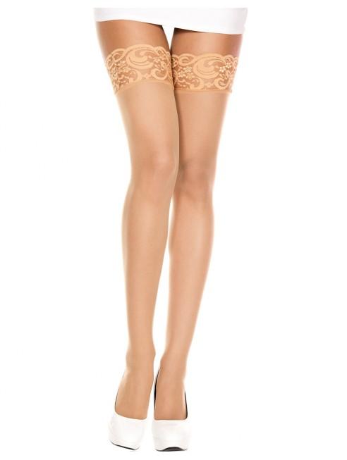 Fournisseur lingerie Bas autofixants voile chair large jarretières