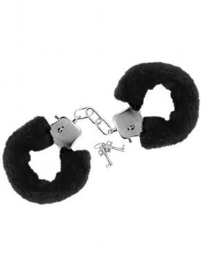 grossiste sextoys Menottes fourrure noires de poignets avec sécurité