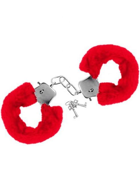 Fournisseur Sweet Caress Menottes fourrure rouges de poignets avec sécurité