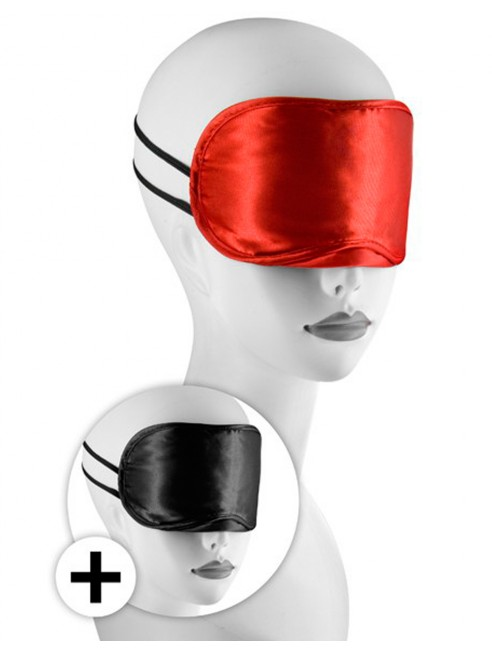 Fournisseur érotique Large masque satin lot de 2 rouge et noir