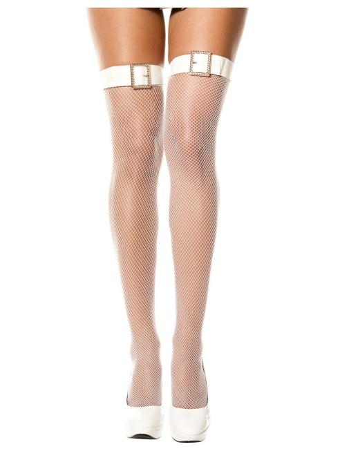 Fournisseur Music Legs Bas blancs autofixants résille effet ceinture boucle avec strass
