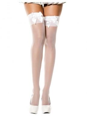 Bas voile blanc autofixants avec noeuds satin sur jarretières