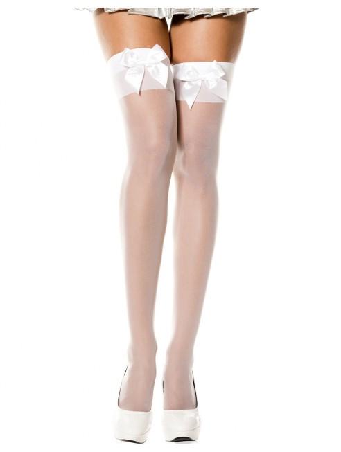 Fournisseur lingerie Bas voile blanc autofixants avec noeuds satin sur jarretières