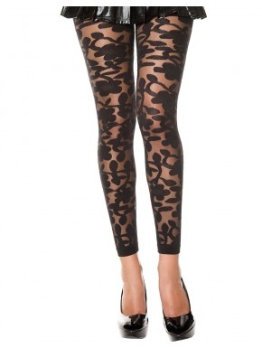 Grossiste vetement Legging noir fin transparent motif fleuri
