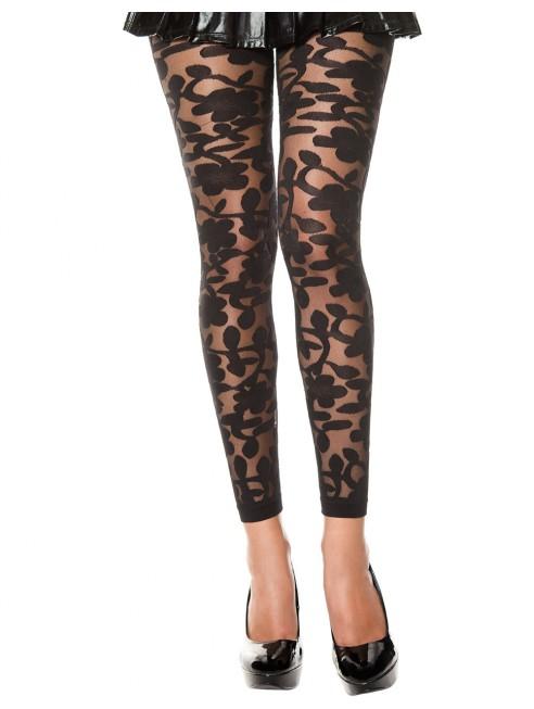 Grossiste vetement Legging noir fin transparent motif fleuri