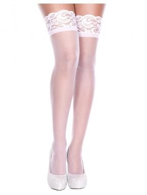 Bas fins voile blanc autofixants - MH4139WHT