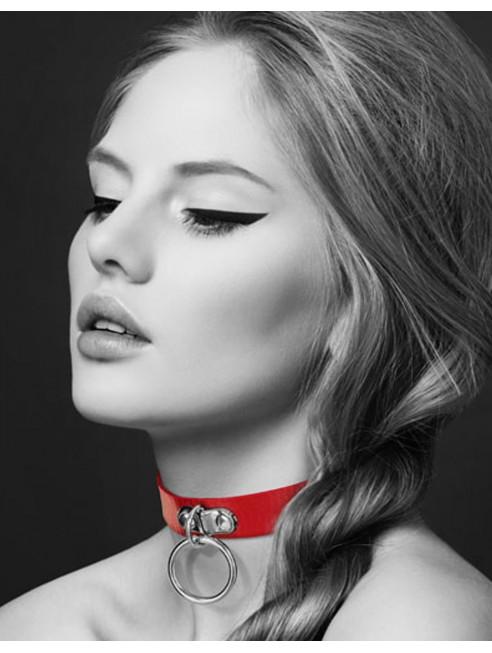 Fournisseur dropshipping Bijoux Pour Toi Collier en cuir rouge SM avec anneau métal argenté pour laisse