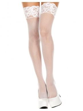 Bas blancs fine résille autofixants jarretières dentelle - MH4992WHT