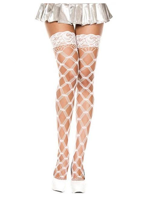 Grossiste lingerie Bas blancs autofixants filet losange