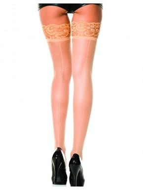 Bas chairs autofixants nylon voile couture et jarretières dentelle - MH4150NUD