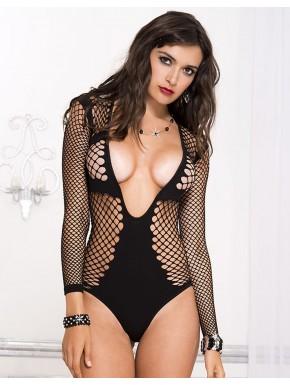 Body sexy noir filet très décolleté - ML8208BLK