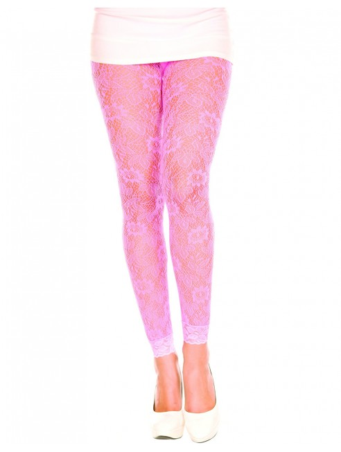Grossiste Music Legs Legging fin dentelle rose