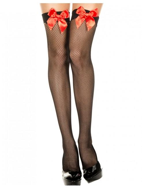 Fournisseur lingerie Bas noirs autofixants fine résille et noeuds rouges satinés