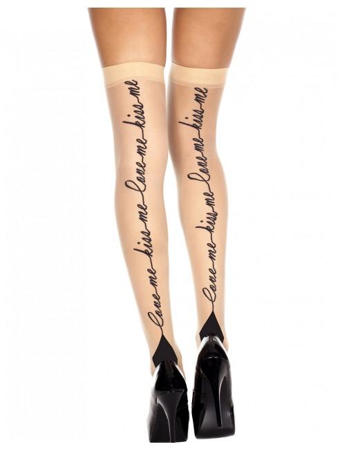 Fournisseur lingerie Bas chairs autofixants impression Love Me Kiss Me