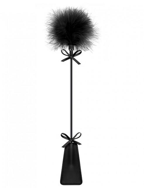 Grossiste Sweet Caress Cravache noire bdsm avec plumeau