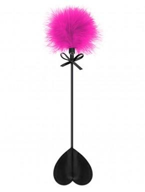 Cravache noire coeur bdsm avec plumeau rose - CC5700760201