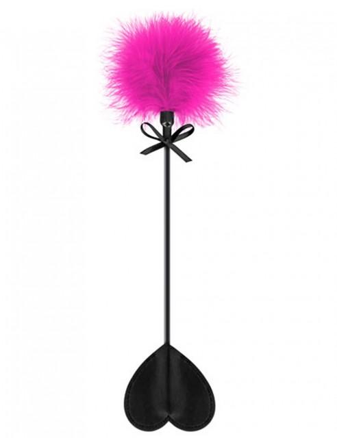 fournisseur Sweet Caress Cravache noire coeur bdsm avec plumeau rose
