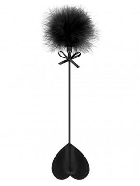 Cravache noire coeur bdsm avec plumeau noir - CC5700760010