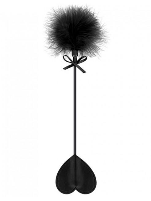 Fournisseur dropshipping Cravache noire coeur bdsm avec plumeau noir