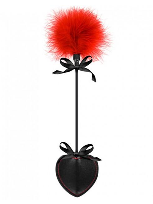 Fournisseur dropshipping Cravache coeur noire bdsm avec plumeau rouge