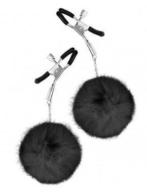 grossiste bdsm Pinces à seins pression réglable pompons noirs
