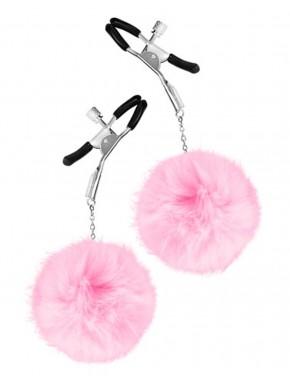 Pinces à seins pression réglable pompons roses - CC5700720050