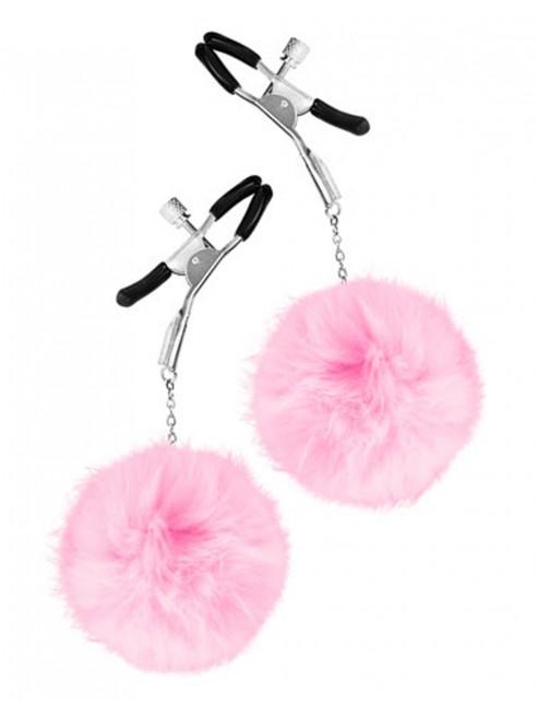Fournisseur bdsm Pinces à seins pression réglable pompons roses