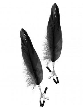 grossiste dropshipping bdsm Pinces à seins pression réglable grande plume noire