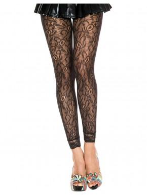 Legging fin noir résille et dentelle motif floral - MH35029BLK