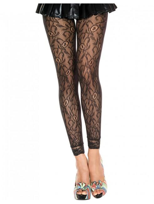 Grossiste dropshipping Legging fin noir résille et dentelle motif floral