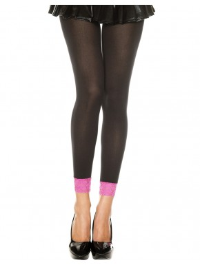 Grossiste dropshipping Legging fin opaque noir dentelle rose