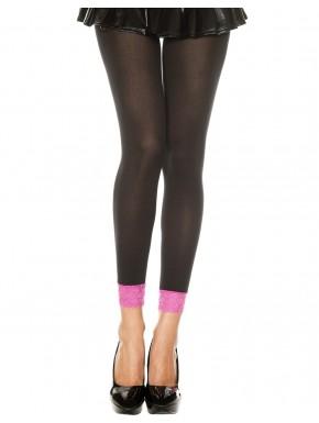Grossiste dropshipping Legging fin opaque noir dentelle rose