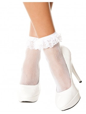 Socquettes blanches résille volant dentelle - MH597WHT