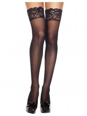 Bas fins voile noir larges jarretières dentelle florale - MH4139BLK