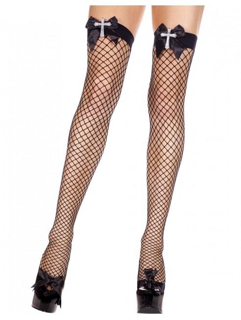 Grossiste lingerie Bas noirs autofixants résille avec noeuds et croix strass