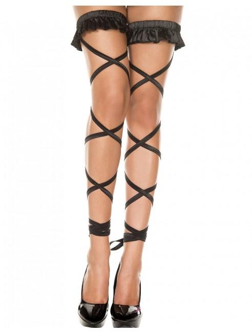 Grossiste lingerie sexy Bas sans pied noirs lanières et jarretières à volant