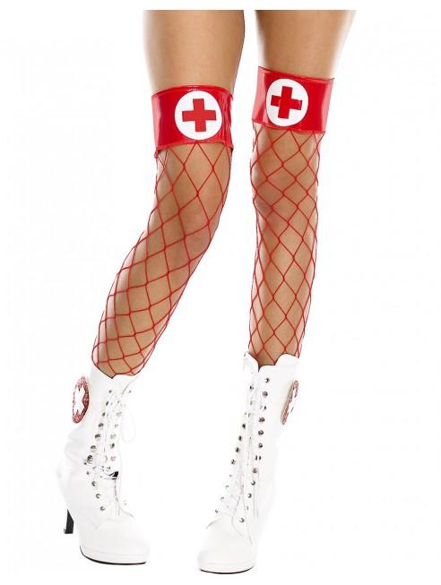 Grossiste lingerie Bas filet rouges autofixants jarretières infirmiere
